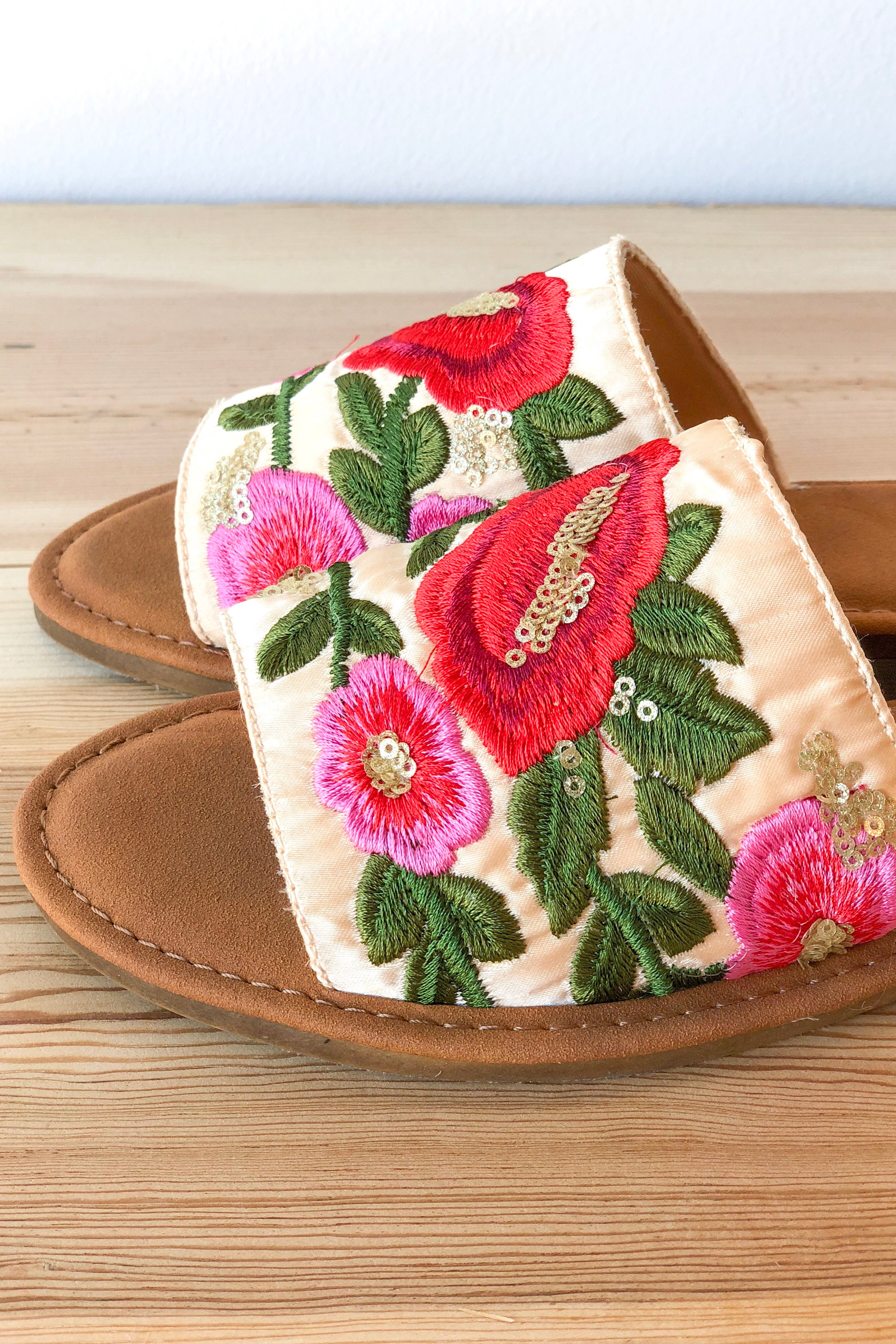 feeling good embroidered sandal