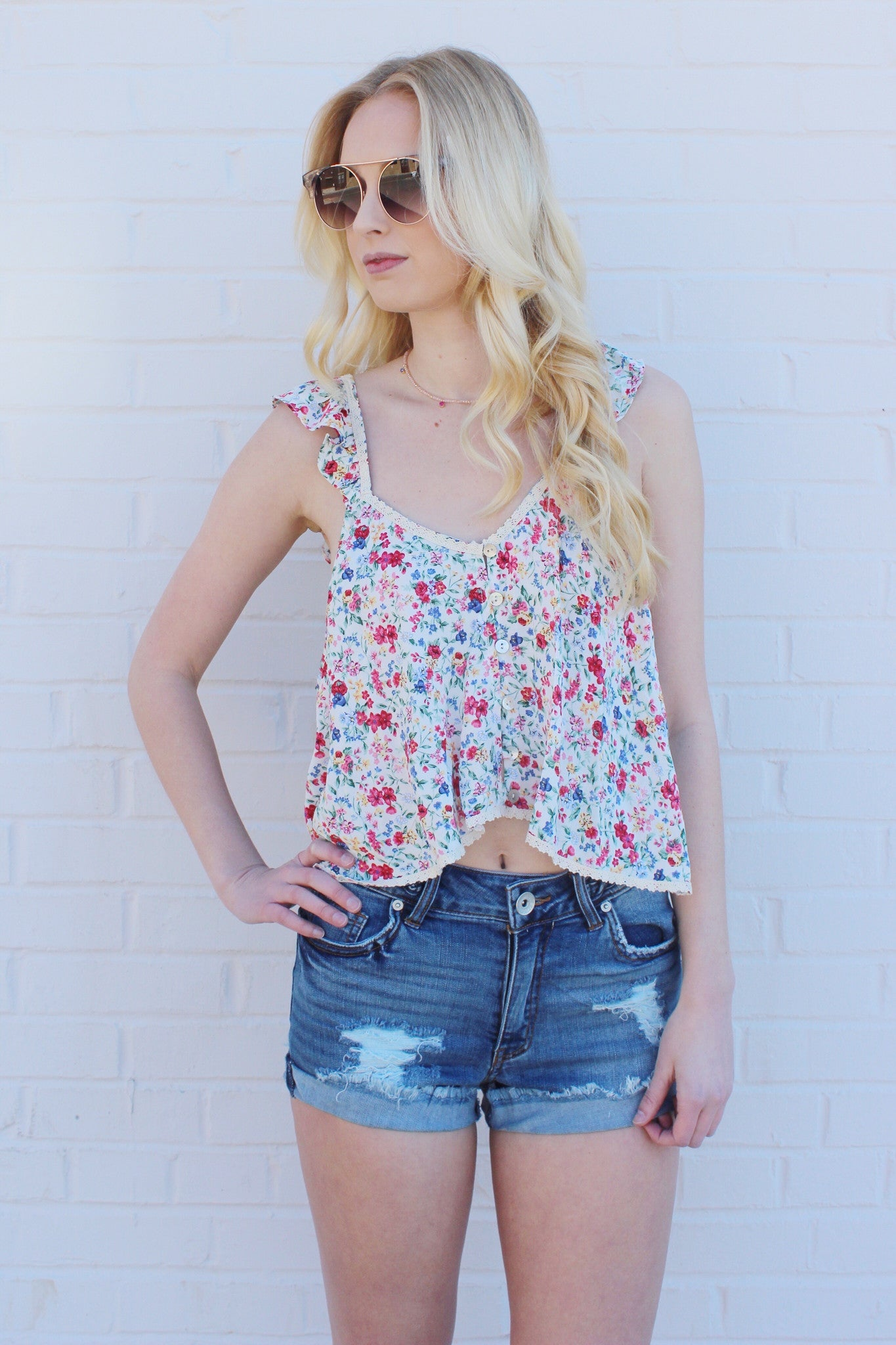 mode, pretty little floral top