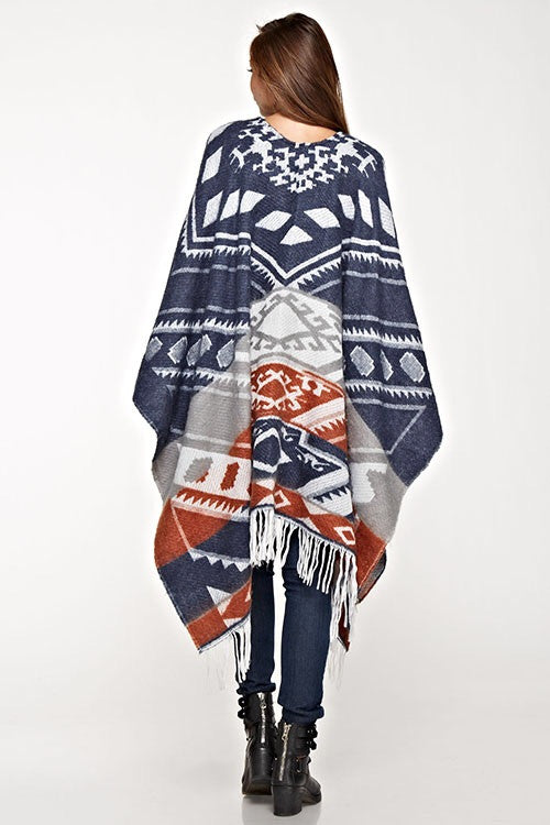Dome fringed poncho