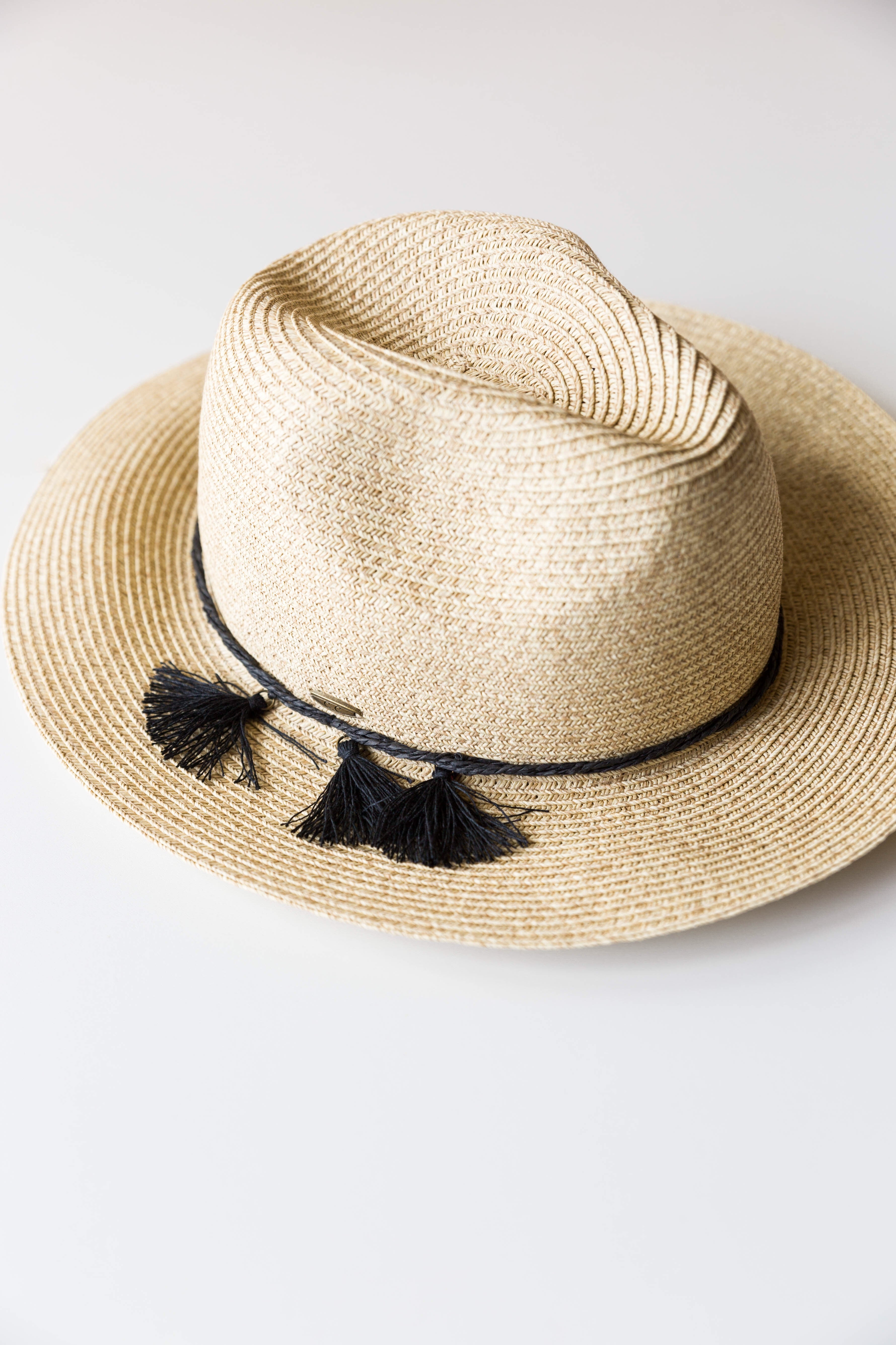 mode, triple tassel trim hat