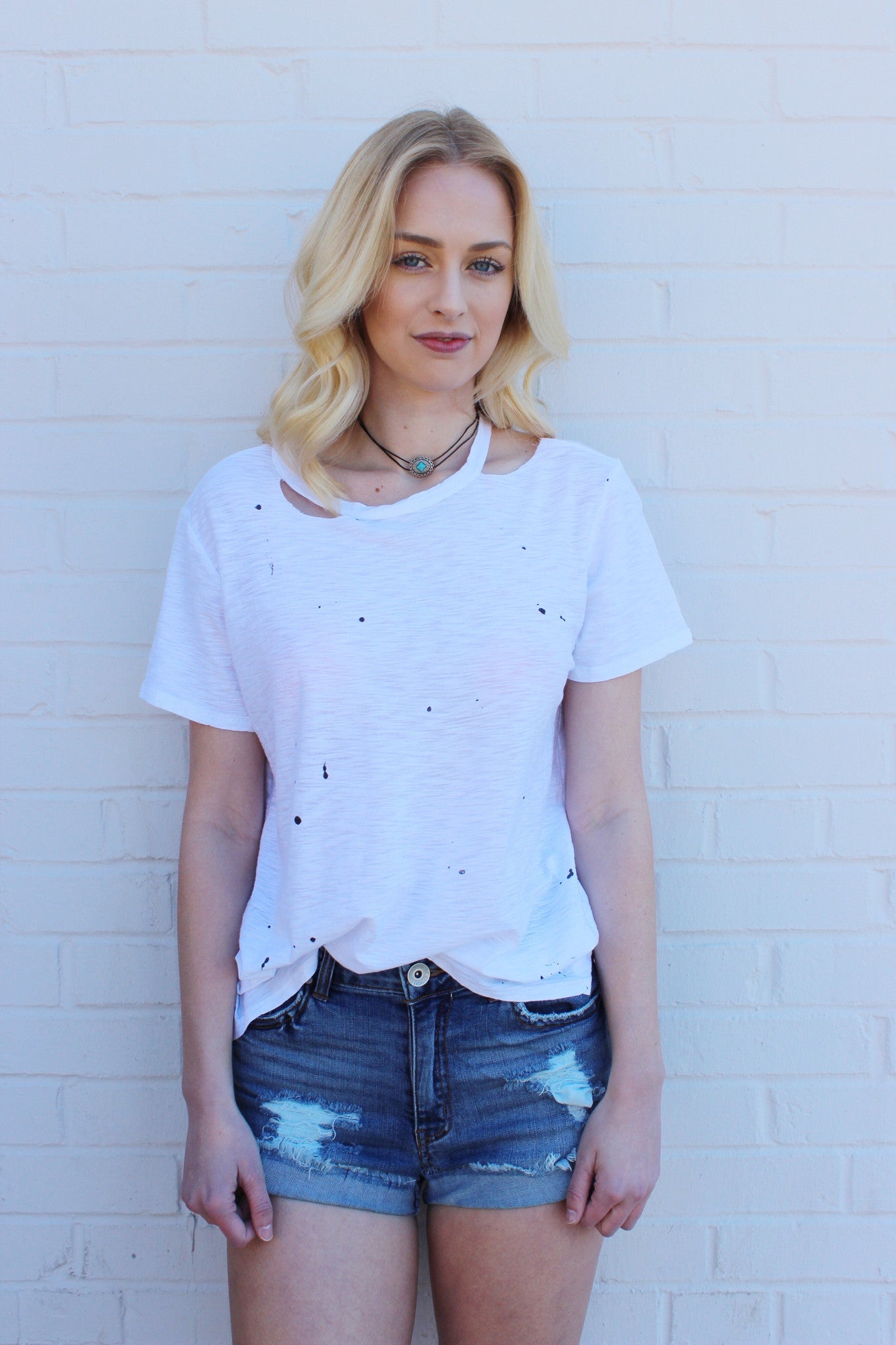 Splat distressed tee