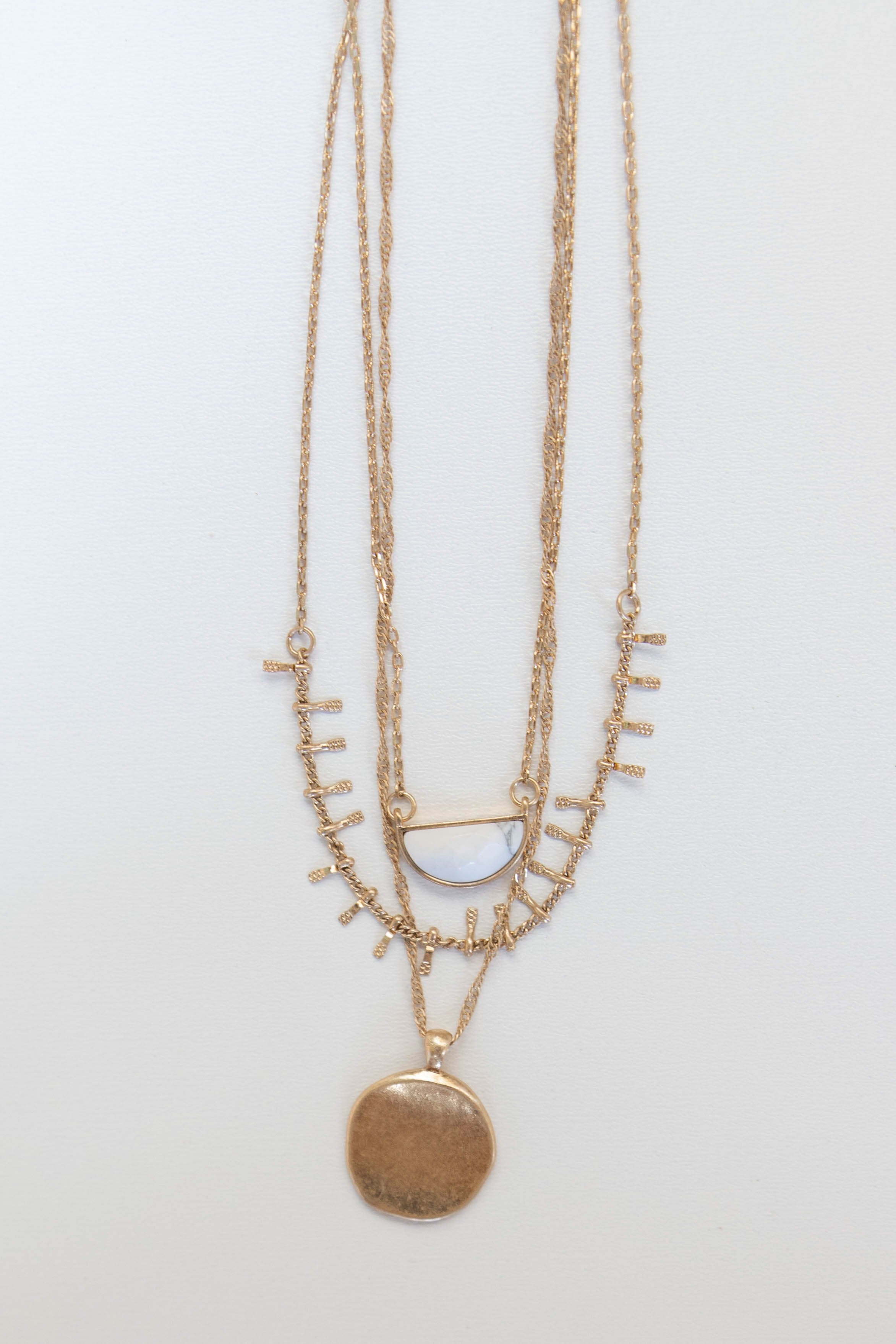 mode, sun stone layers necklace