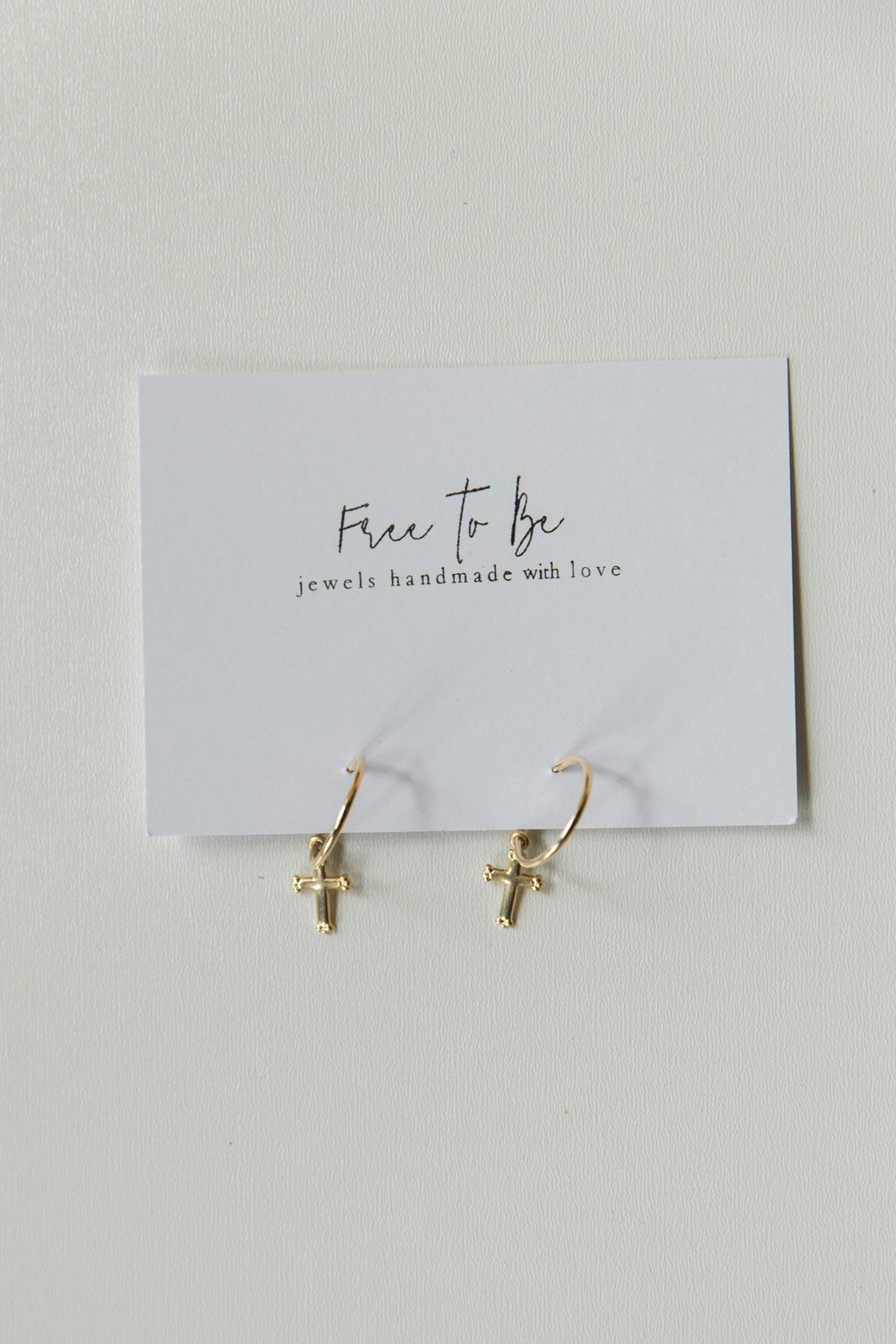 mode, 14k gold filled cross hoops