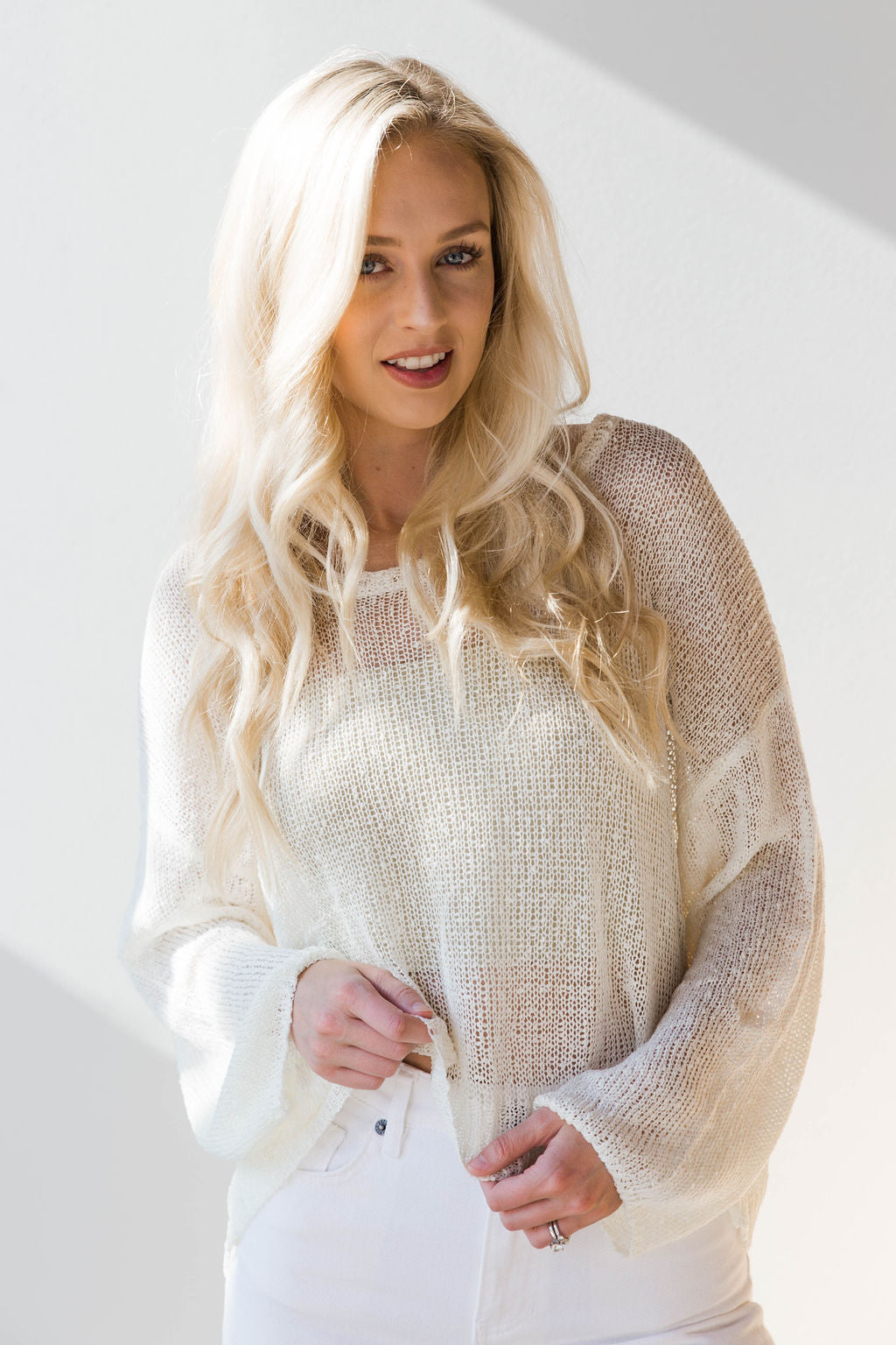 mode, spring neutrals distressed sweater