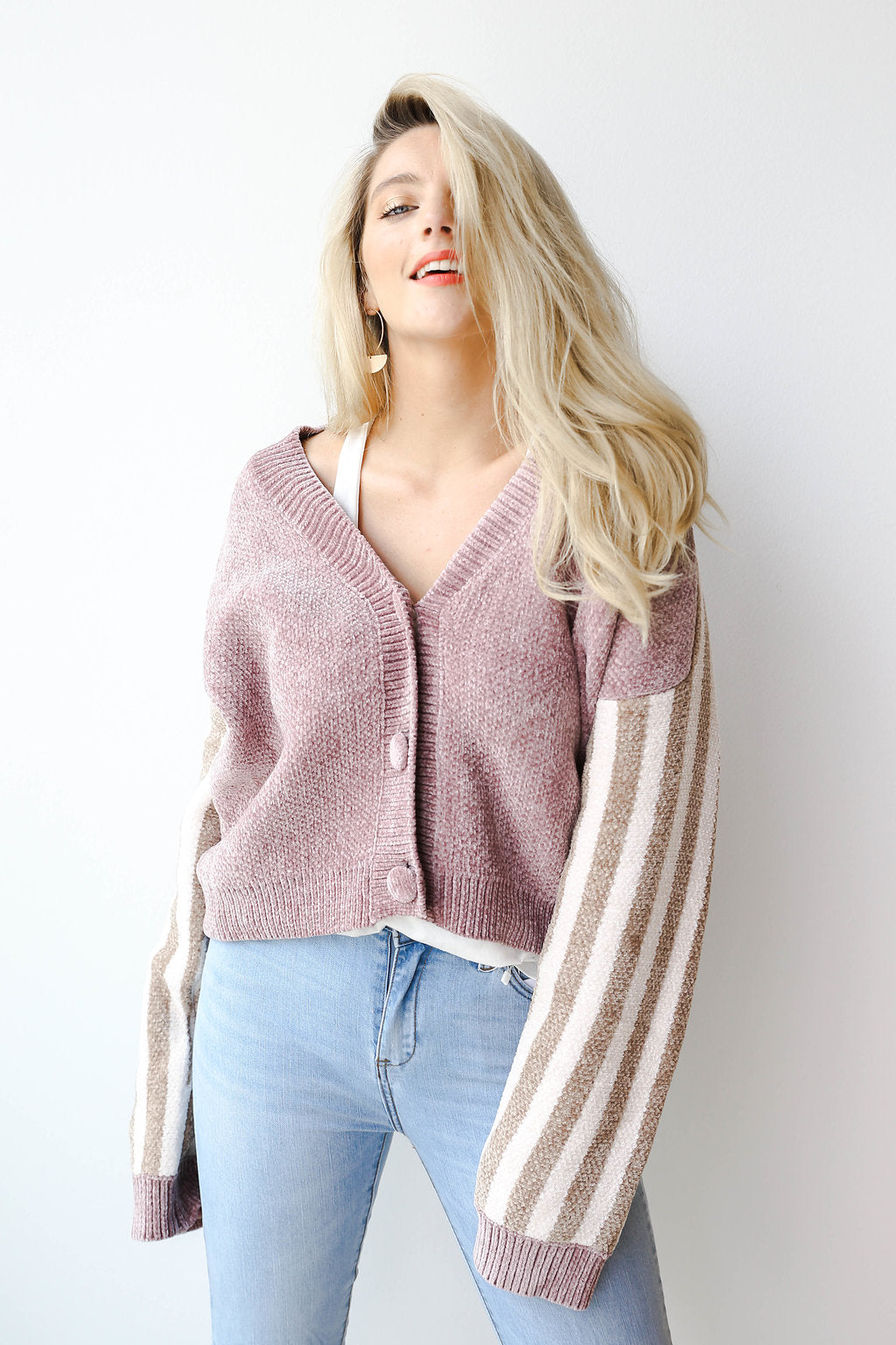 mode, Kandy stripe sleeve cardigan