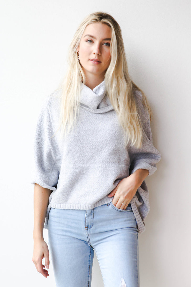 mode, clear skies funnel neck sweater