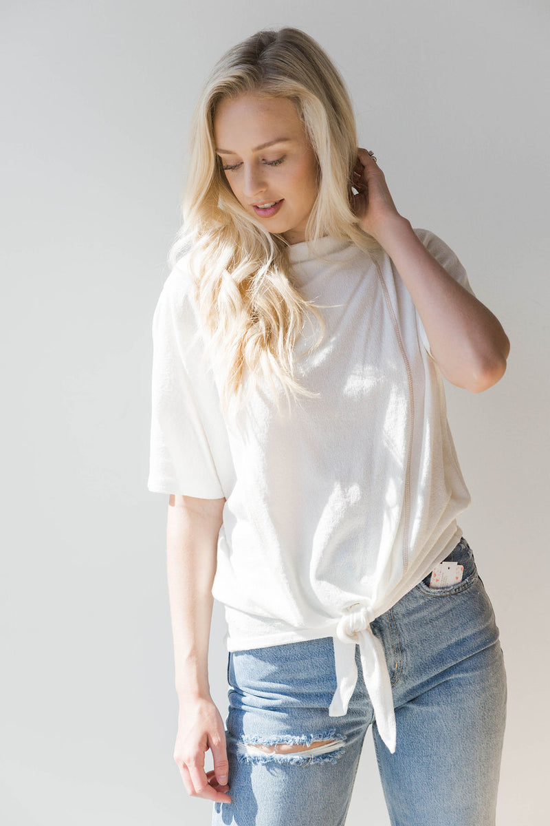 mode, contrast stitch boat neck top