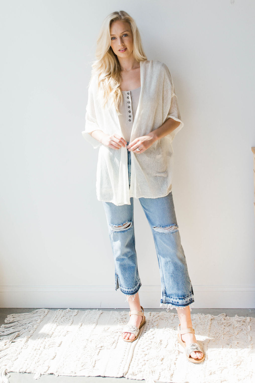 mode, out the door lightweight cardigan