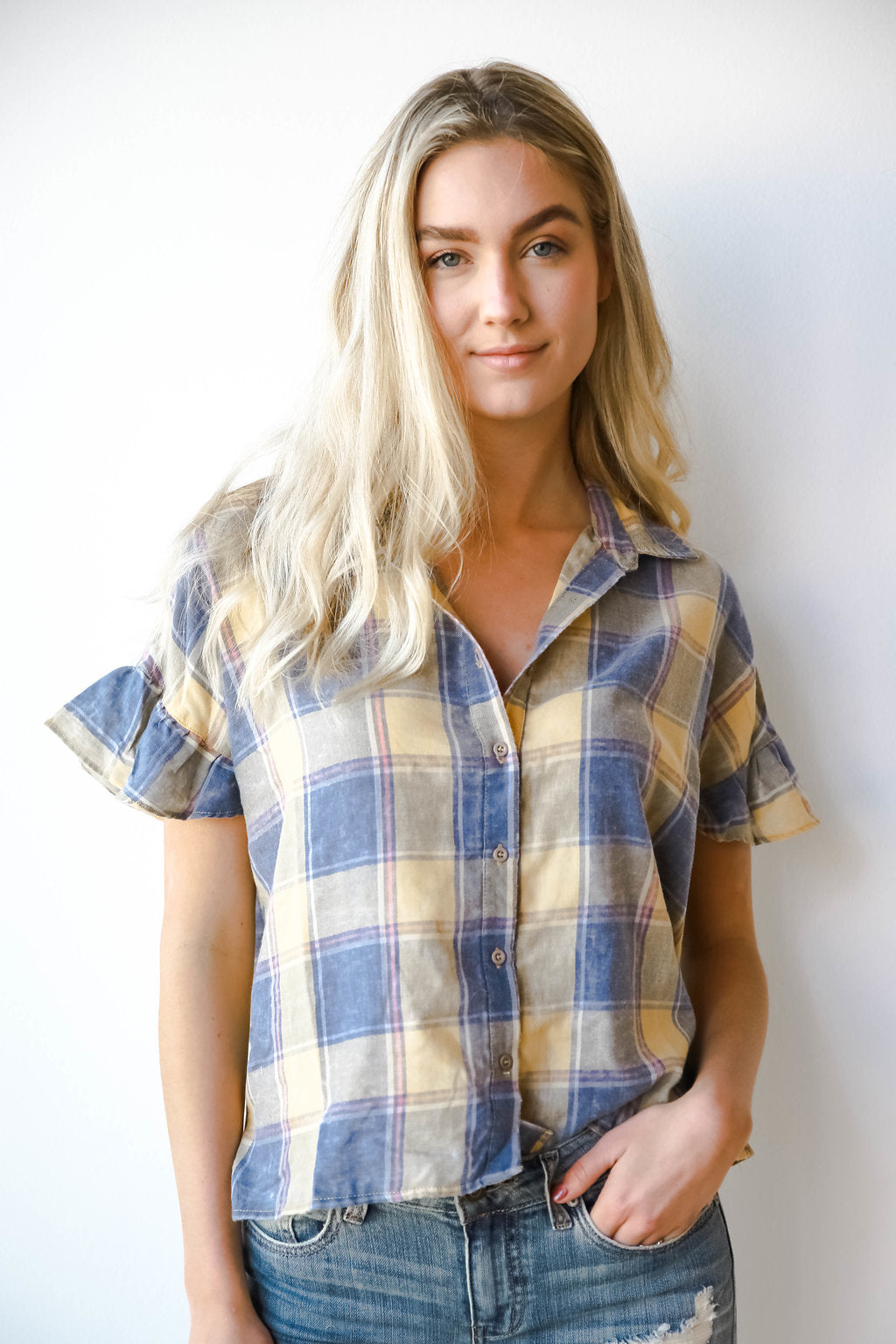 plaid burnout ruffle sleeve