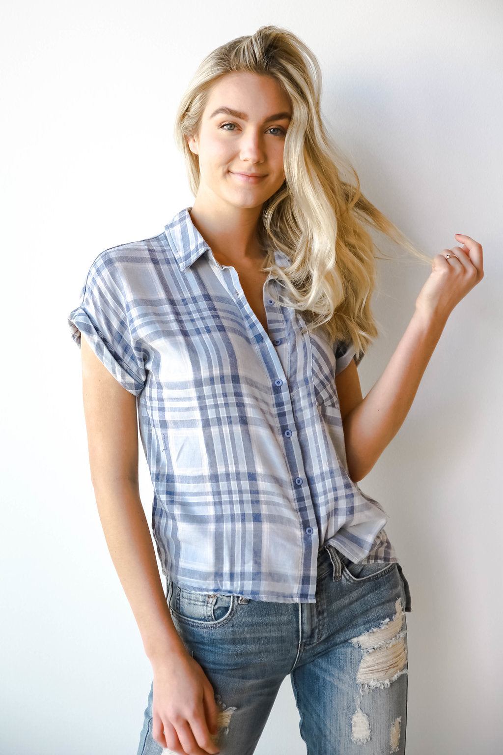 plaid burnout short sleeve