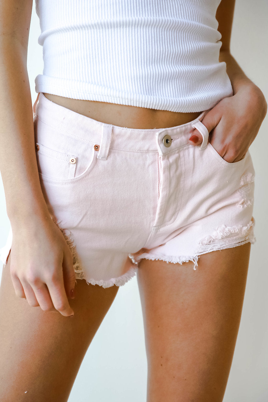 mode, I'm blushing denim shorts