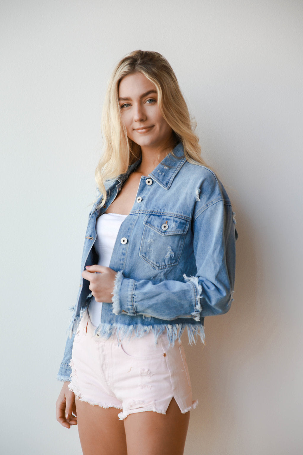 [shop name], floral & grace distressed denim jacket