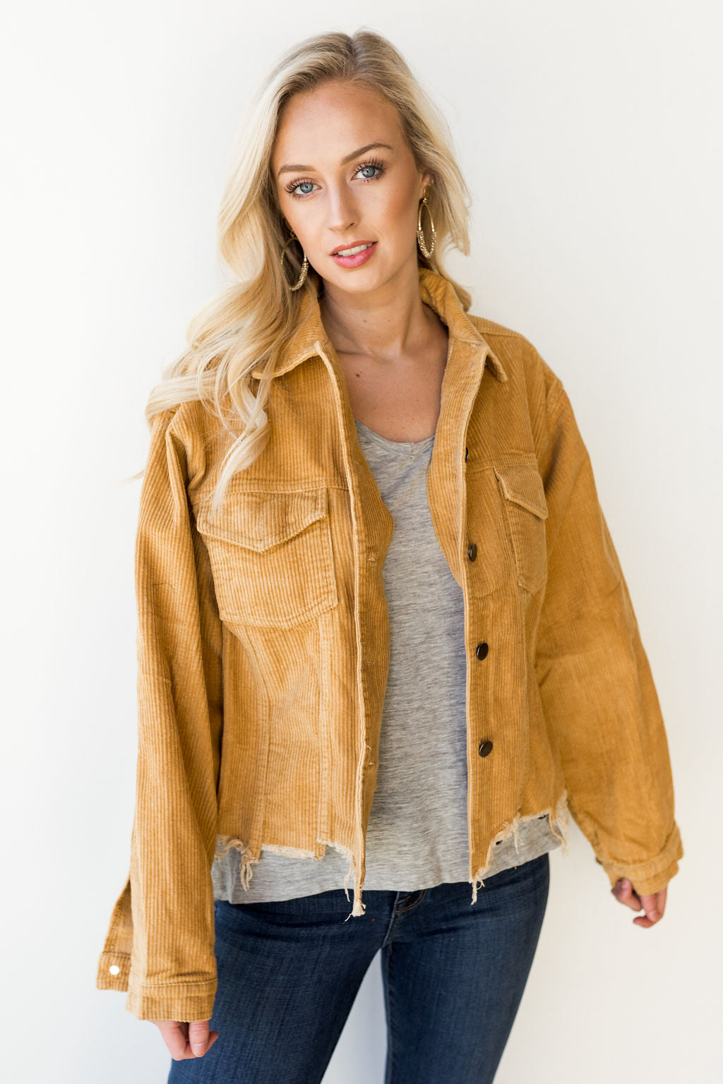 mode, shredded corduroy jacket