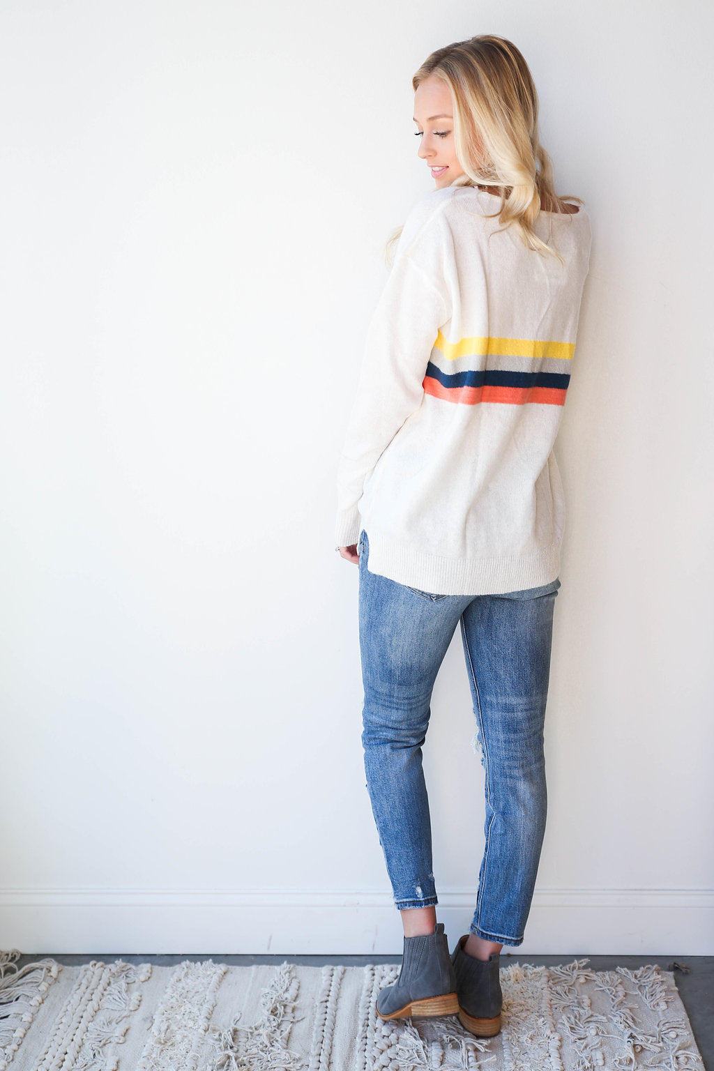 living color striped sweater