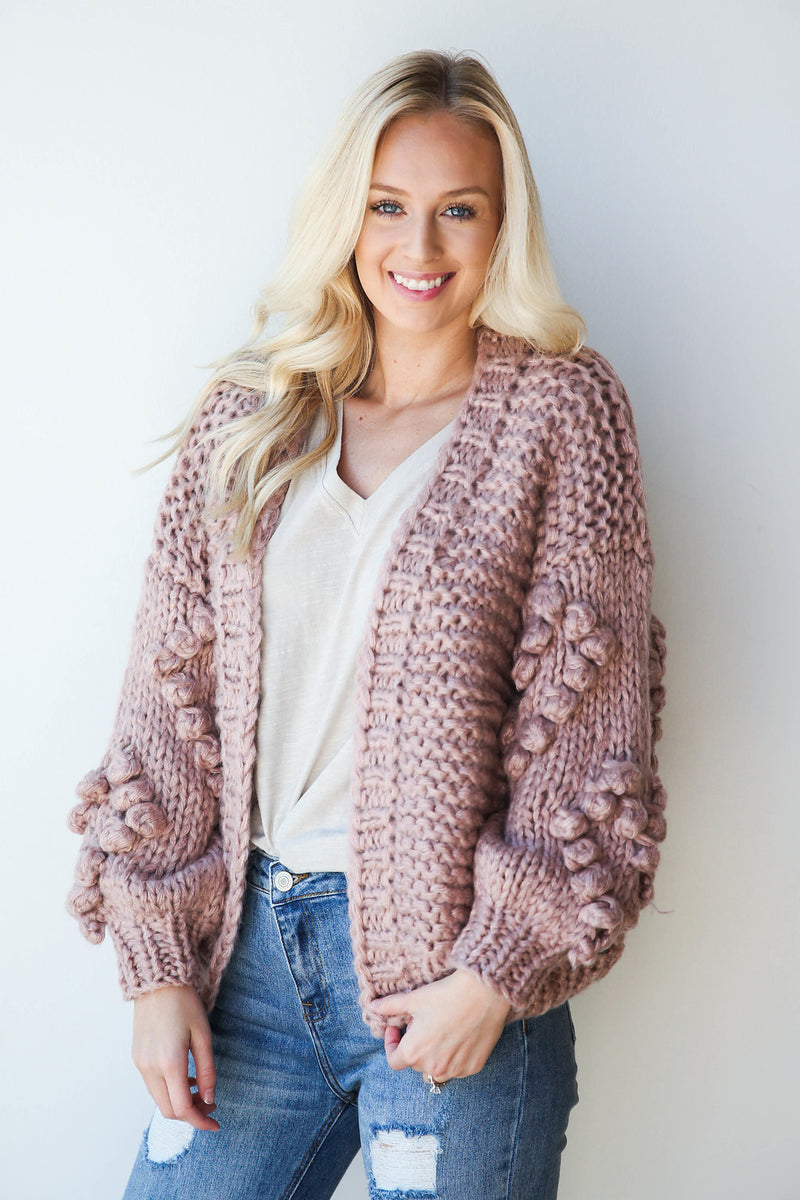 mode, bubble sleeve cardigan