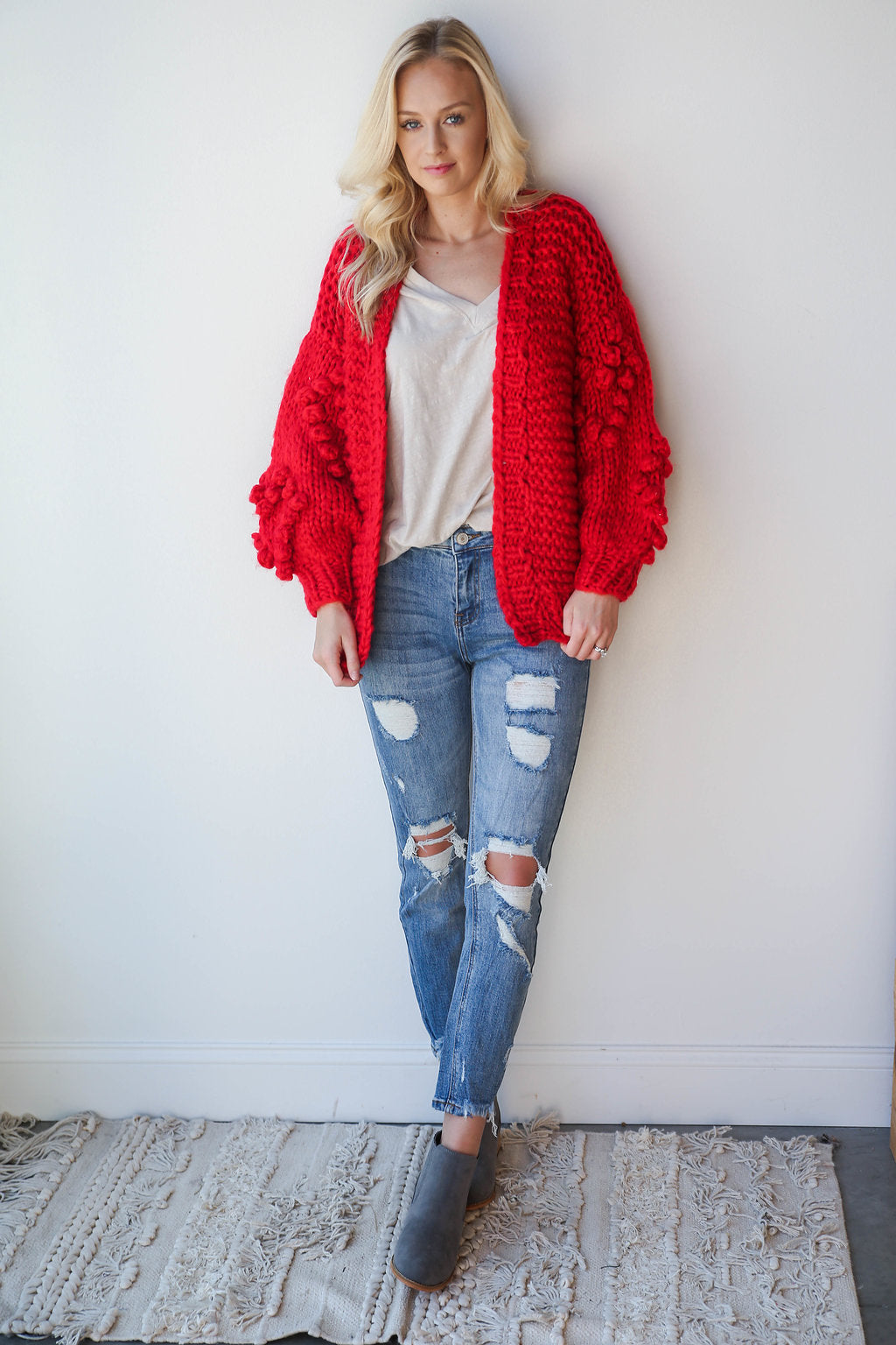 [shop name], bubble sleeve cardigan