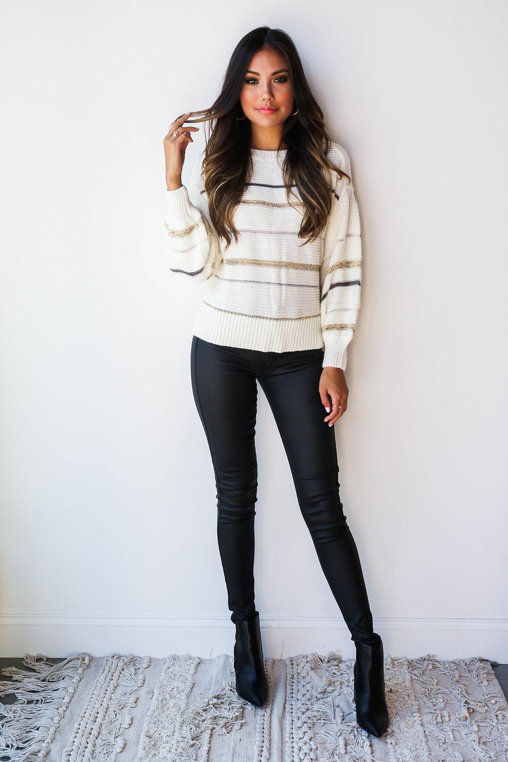 mode, Jacey metallic stripes sweater