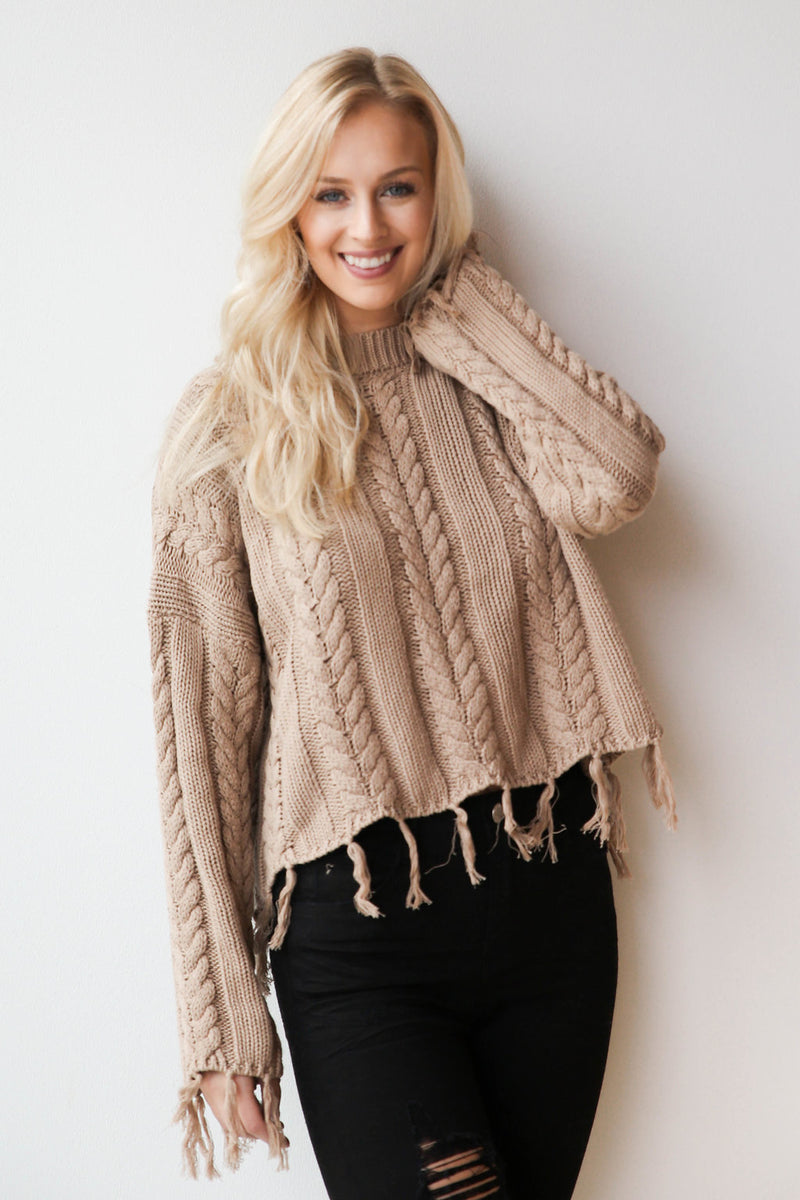 mode, boho braid sweater
