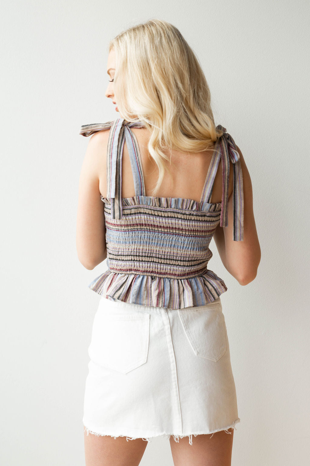 mode, multi stripe rouched tank