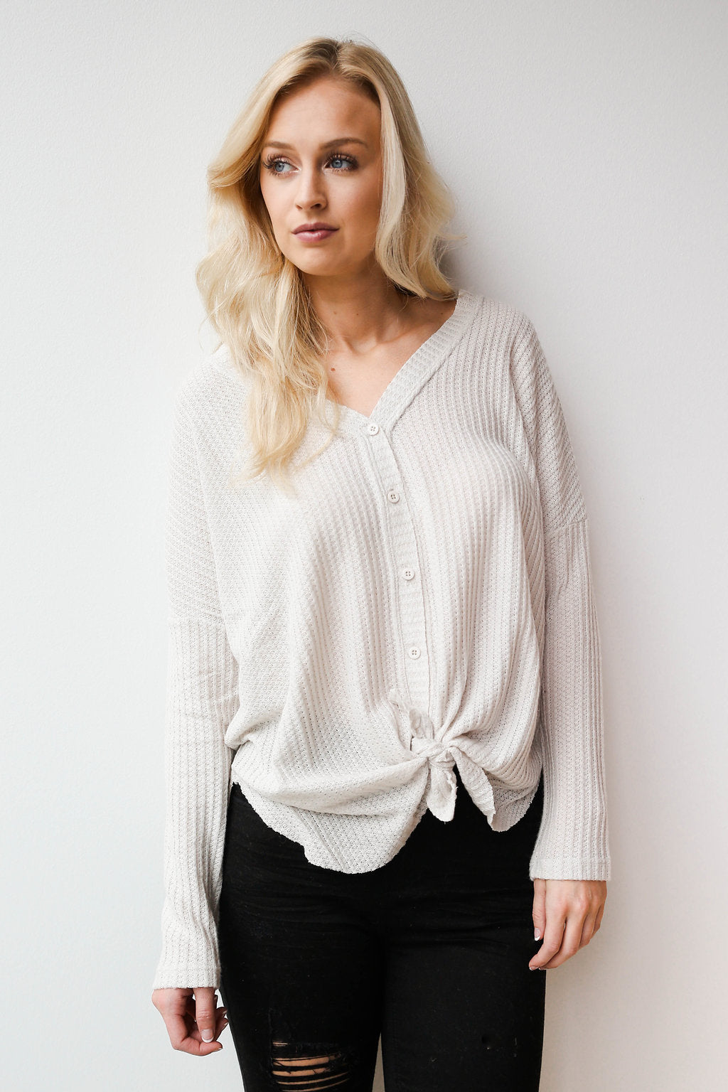 mode, face to face button waffle knit