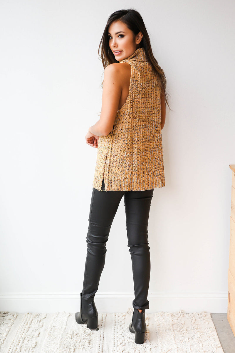 mode, speckle sleeveless sweater