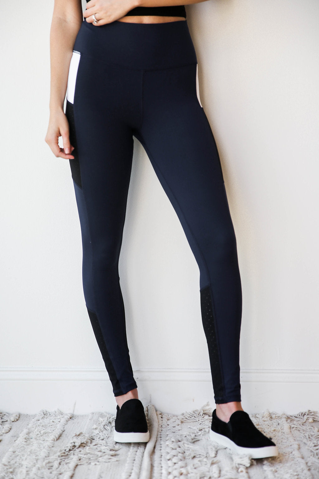 laser cut color block leggings