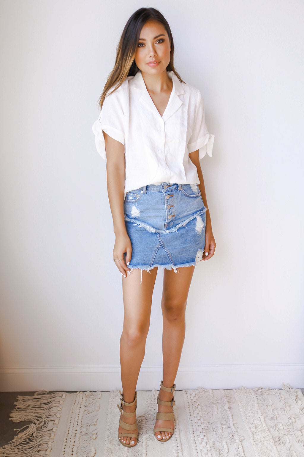 reworked denim skirt