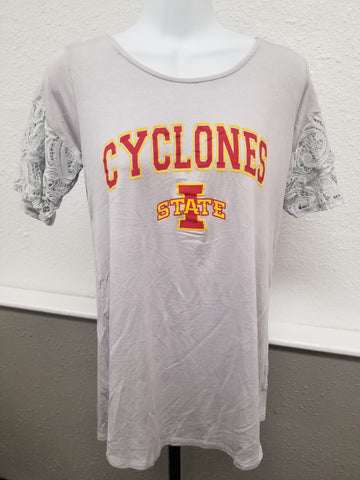 Hawkeyes or Cyclones Gray Tee with Lace Sleeves