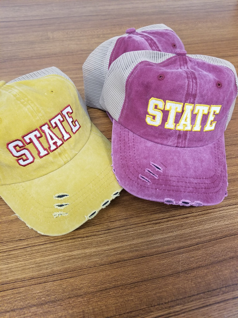 Iowa State Distressed Mesh Cap in Block Print - Yellow or Red