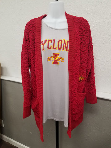 Iowa State Popcorn Cardigan - Red or Mustard