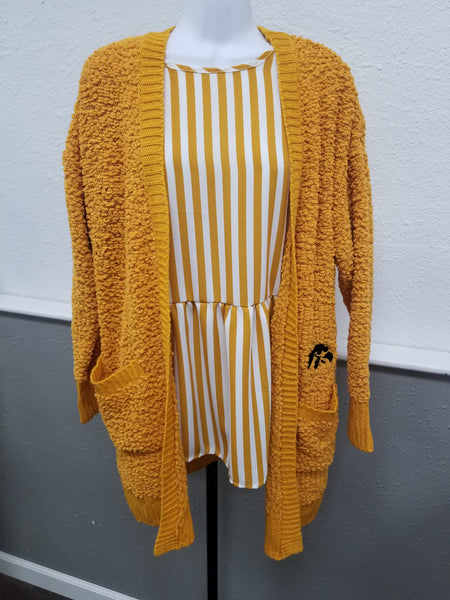 Iowa Popcorn Cardigan - Black or Mustard
