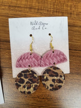 Load image into Gallery viewer, Leather & Cork Two Tier Earrings - Variety of Colors