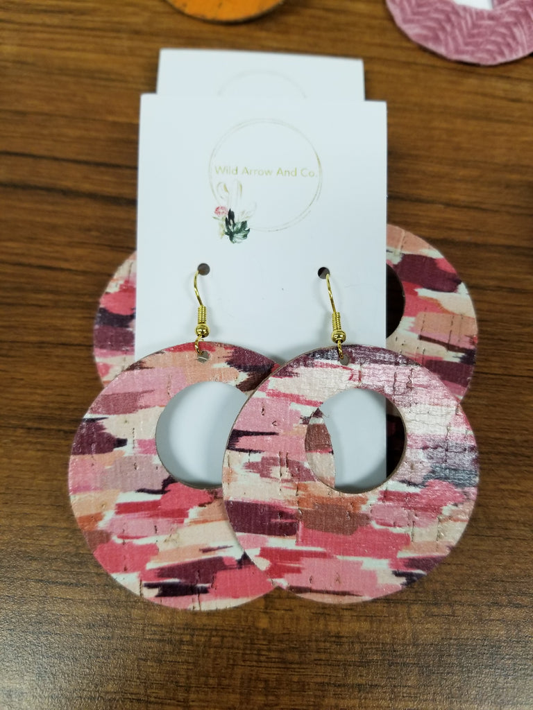 Magenta Circle Cutout Cork Earrings