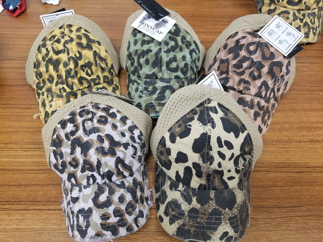 CC Leopard Distressed Ponytail Baseball Cap - Variety of Colors
