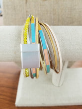Load image into Gallery viewer, Yellow Double Wrap Leather Magnetic Bracelet