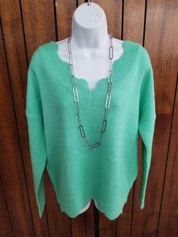 Mint Scalloped Edge V-Neck Sweater