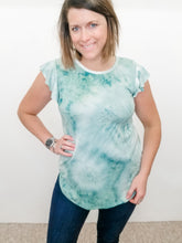 Load image into Gallery viewer, Tie Dye Short Sleeve with Ruffle Sleeve - Sage or Wine