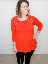 Load image into Gallery viewer, MULTIPLES Scarlet Red Grommet Top