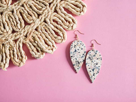 Pink Cork Confetti Teardrop Earrings