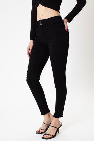 Kancan High Rise Double Button Ankle Skinny - KC7217BK