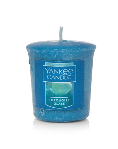 Turquoise Glass Samplers Votive Candle