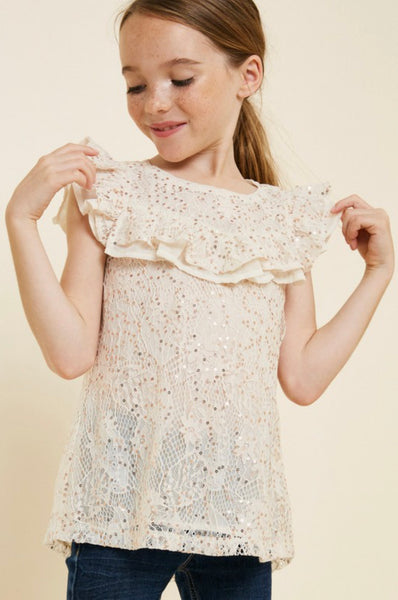 Sequin Lace Ruffle Top