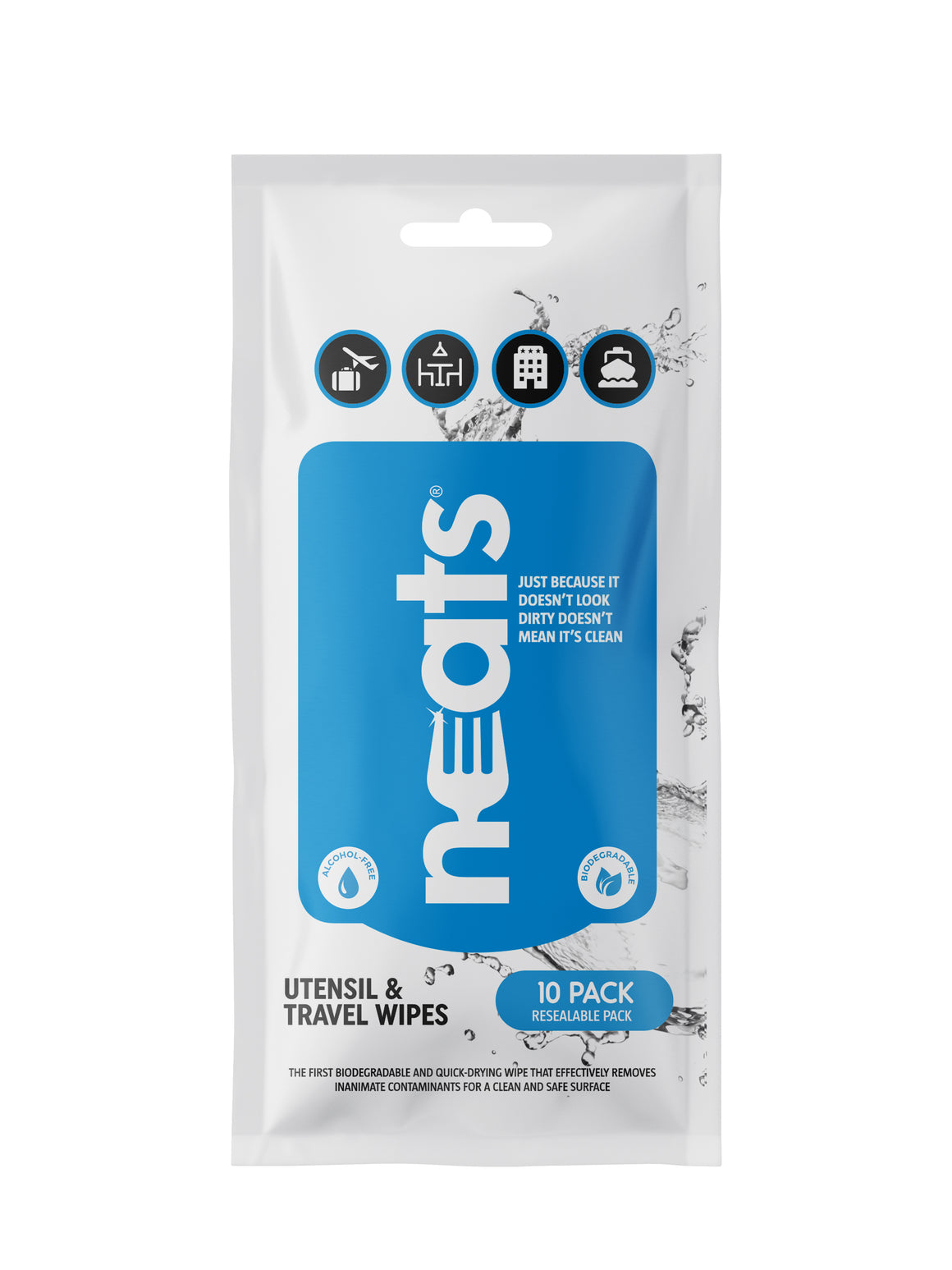 Neats Utensil & Travel Wipes: 10-Count Resealable Pack