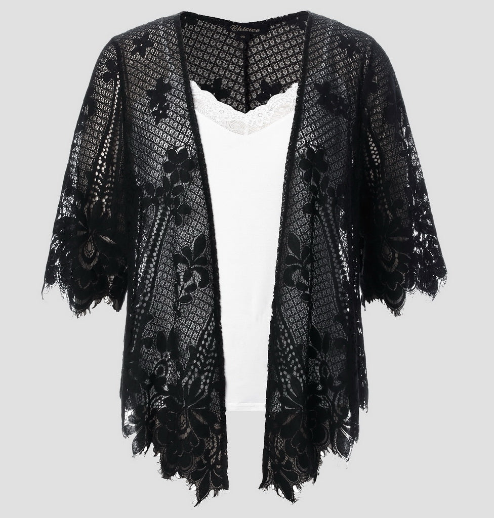 Women's Plus Size Draped Collar Cardigan Jacket-389