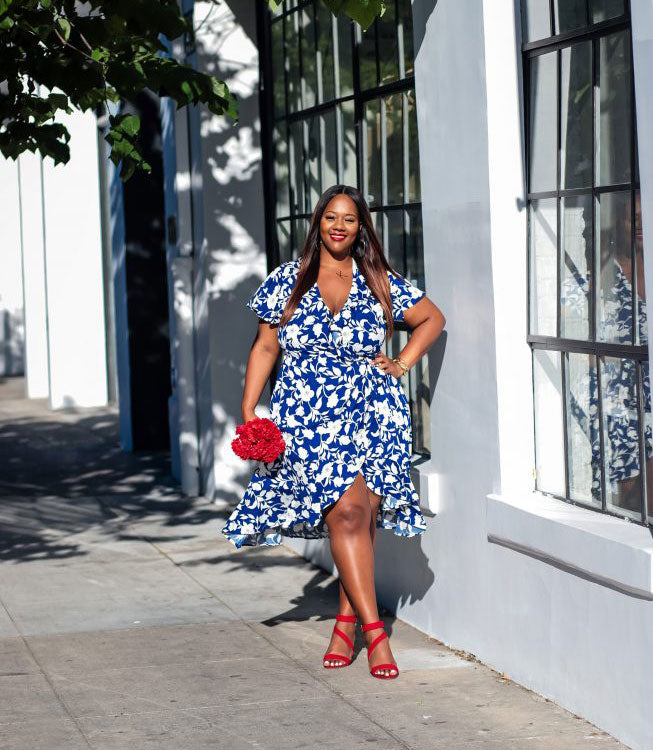 Plus Size Modern Floral Dress for Summer-5