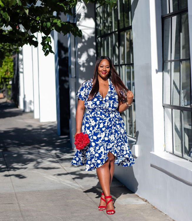 Plus Size Modern Floral Dress for Summer-4