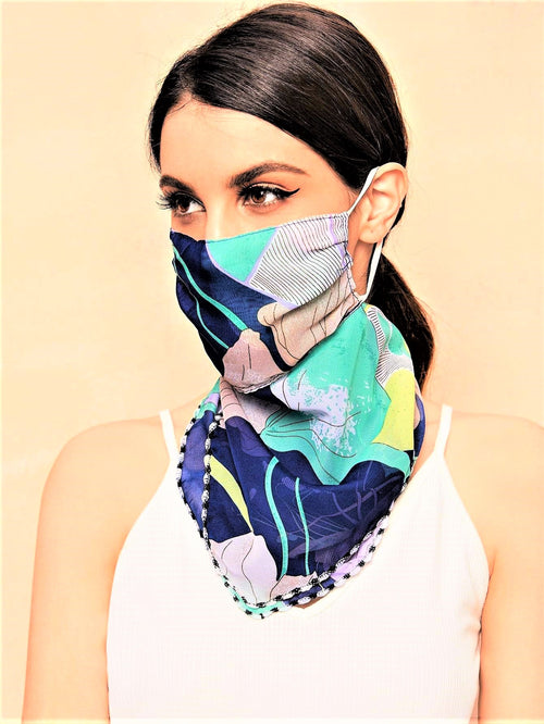 Blooms Of Blue Floral Scarf Mask (In Stock Ready To Ship)