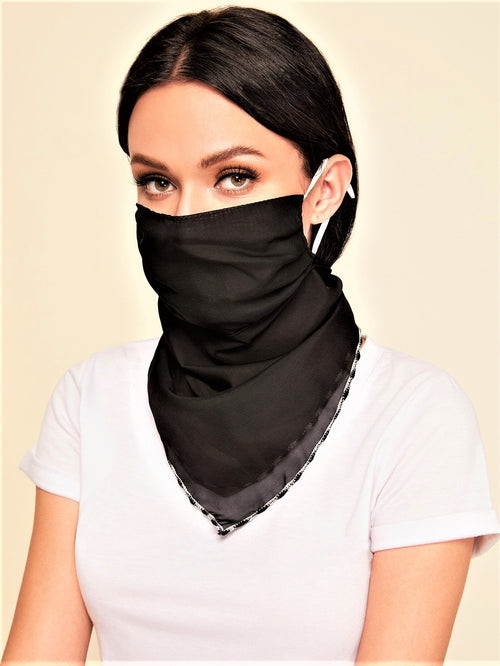 Solid Black Beautiful Scarf Mask (In Stock Ready To Ship)