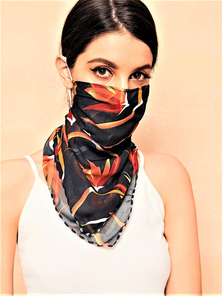 Blooms Of Burgunday Floral Scarf Mask (In Stock, Ready To Ship)