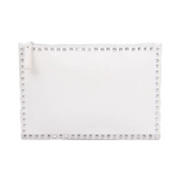 Simple Stylish Studded Clutch Bag (White)